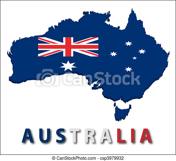 Australia territory with flag texture. - csp3979932
