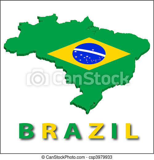 Brazil territory with flag texture. - csp3979933