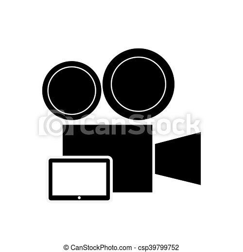 Clipart Vector of film projector and laptop icon - flat design ...