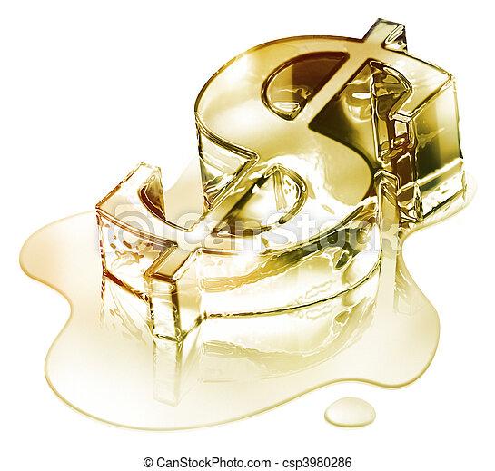 Crisis finance - gol dollar symbol - csp3980286