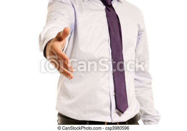 Unrecognizable businessman handshake closeup isolated on white background - csp3980596