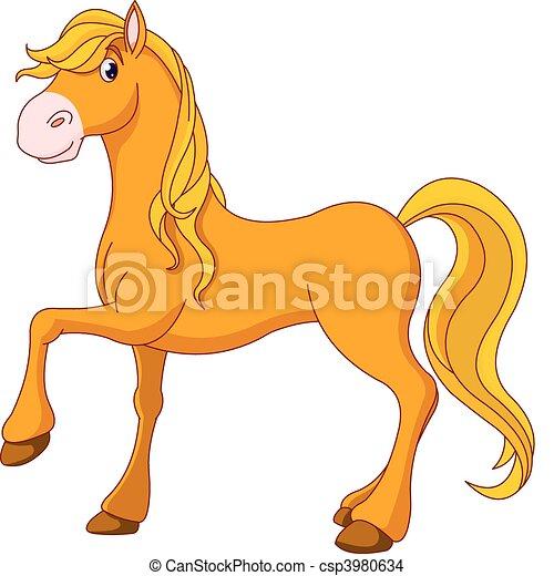 EPS vector de dorado, caballo - Ilustración, caricatura, hermoso ...