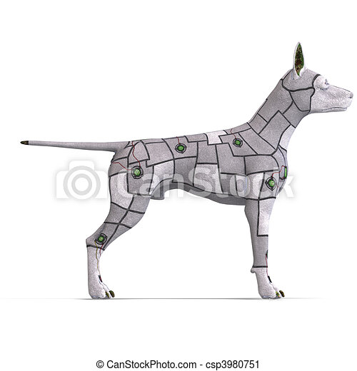 electronical scifi dog of the future. 3D rendering and shadow over white - csp3980751