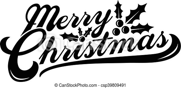 Merry Christmas text font graphic - csp39809491