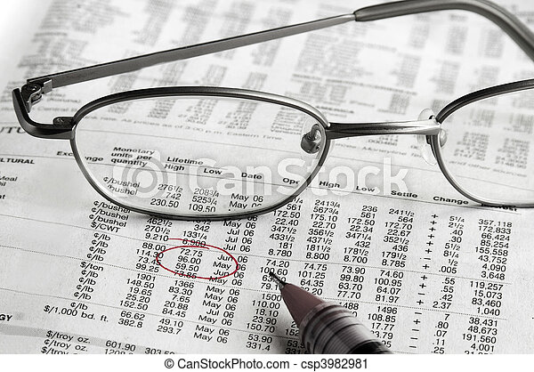 Stock chart and glasses with price circled in red - csp3982981