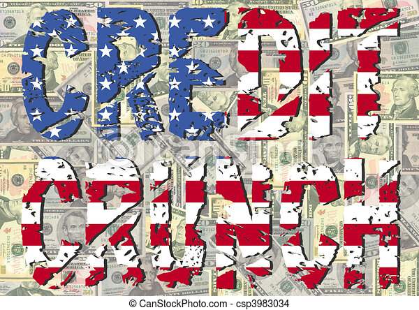 Credit Crunch with American flag - csp3983034