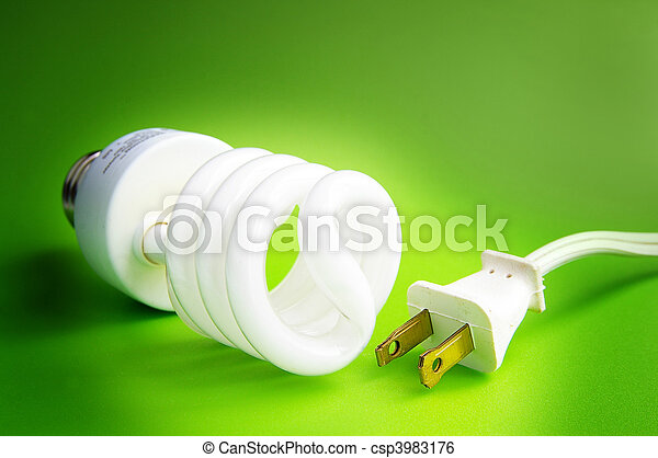 Compact fluorescent light bulb, and plug - csp3983176