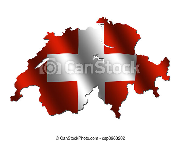 Switzerland map flag - csp3983202