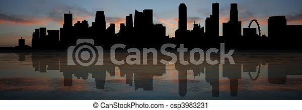 Singapore skyline at sunset - csp3983231