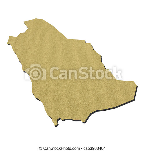 Saudi Arabia map with sand - csp3983404
