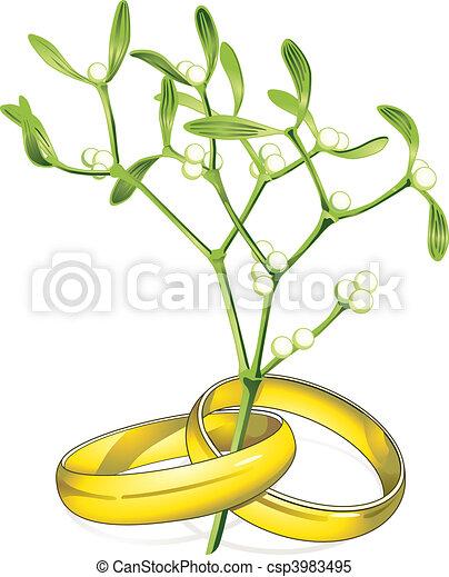mariage, Anneaux, gui - csp3983495