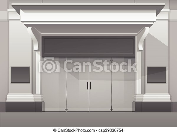 Store Doors Clipart clipart vector of shop building store front with closed glass door