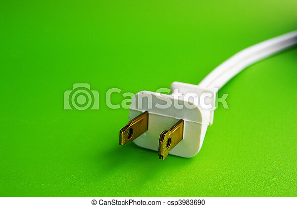 Power plug on green background (green power) - csp3983690