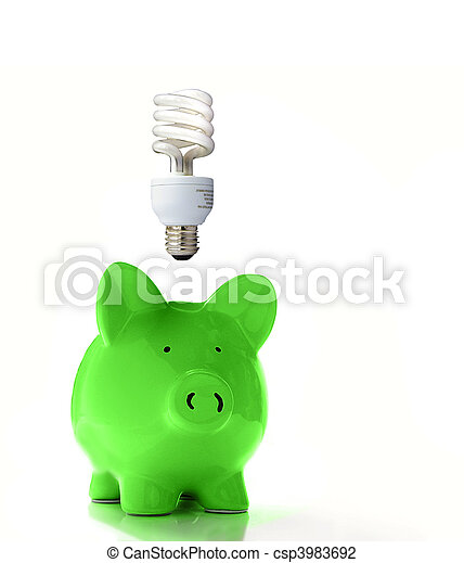 Piggy bank with a CF bulb above (smart energy) - csp3983692