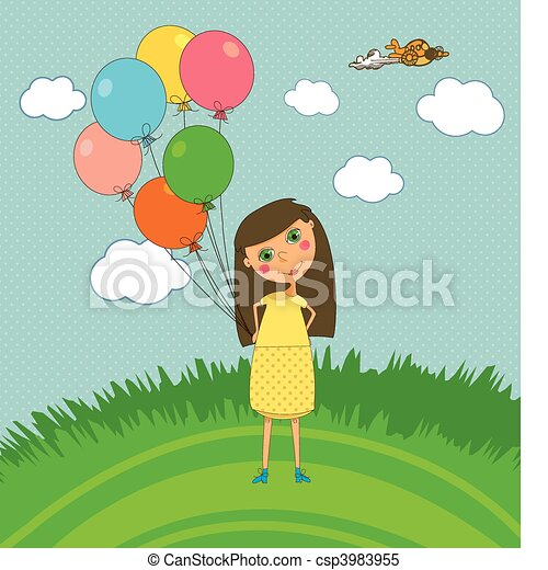 Girl Outdoors with Balloons - csp3983955