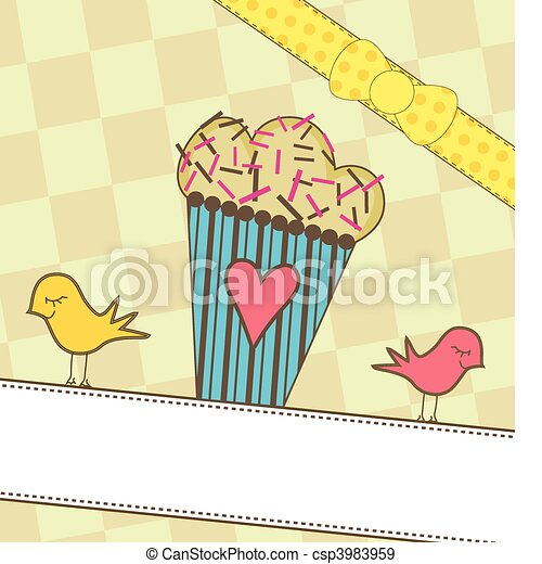 Cute Muffin with Birds - csp3983959