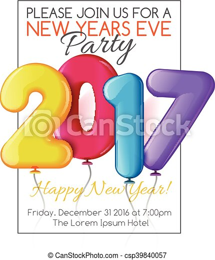 Clipart Vector of Merry Christmas and Happy New Year 2017 party ...