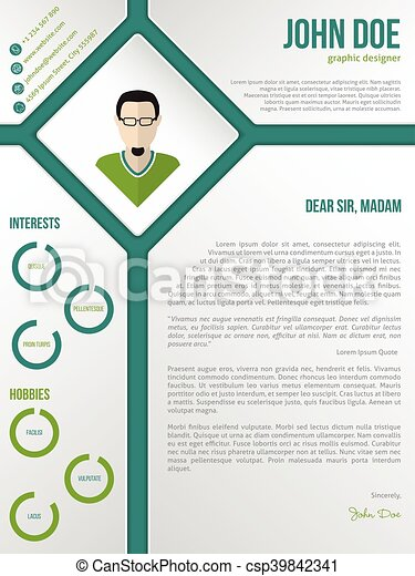 resume cover letter template with photo in rhomb stock illustration