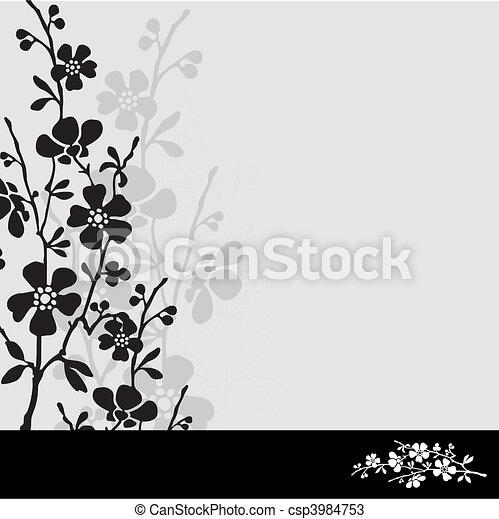 Vector White Blossom Frame - csp3984753