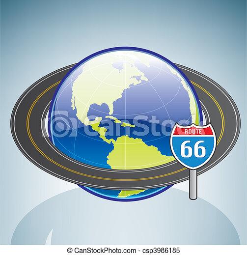 Globe & Route 66 - csp3986185