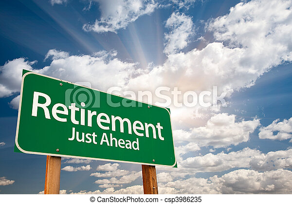 Retirement Green Road Sign Over Clouds - csp3986235