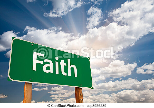 Faith Green Road Sign Over Clouds - csp3986239