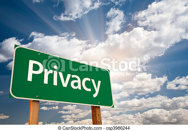 Privacy Green Road Sign Over Clouds - csp3986244