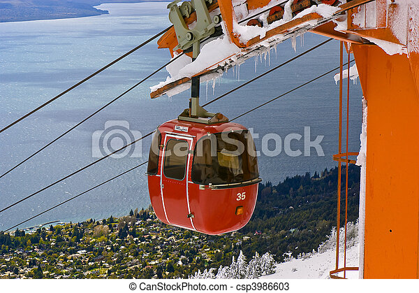 Cable railway by a lake - csp3986603