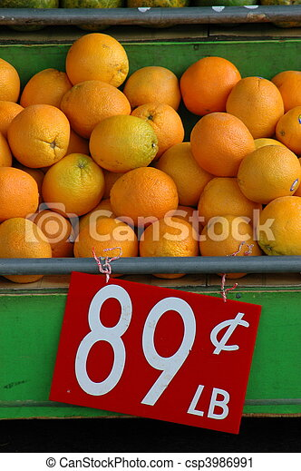 Retail Image of Fresh Fruit (Oranges) at a Market Stall - csp3986991
