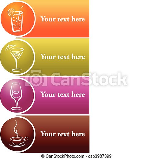 different drink logos with place for your text - csp3987399
