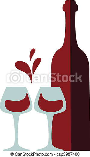 wine bottle and clink glasses with red wine splash  - csp3987400