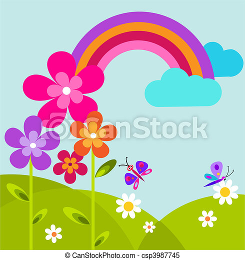 green meadow with butterfly, rainbow and flowers - csp3987745