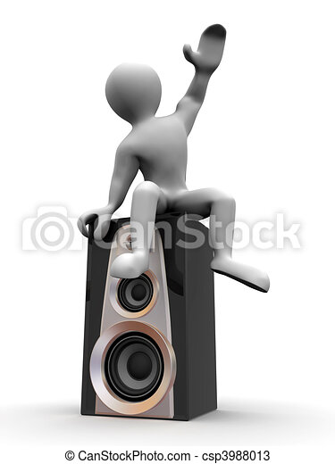 Man sitting on loudspeakers - csp3988013