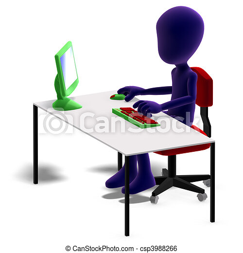 symbolic 3d male toon character working with a computer. 3D rendering with  and shadow over white - csp3988266