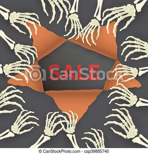 Vector Halloween background with skeleton arm for promotional, p - csp39885740