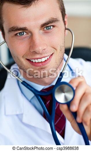 Glowing doctor holding a stethoscope - csp3988638