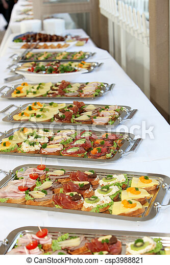 Buffet with appetizers or finger food - csp3988821