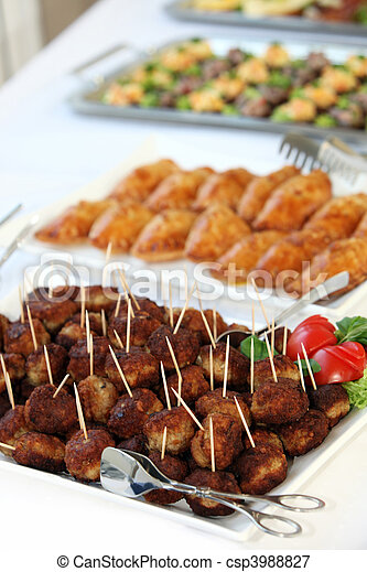 Buffet with meatballs as finger food - csp3988827