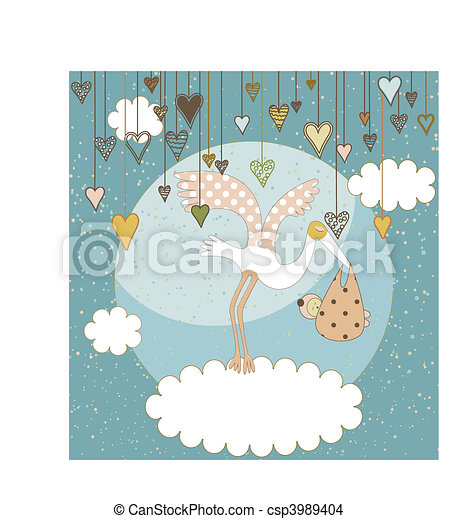 Baby arrival announcement card - csp3989404