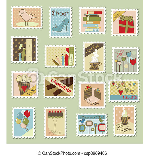 Large set of postage stamps - csp3989406