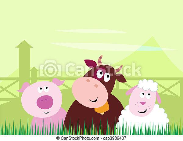 Cute Farm Animals - csp3989407