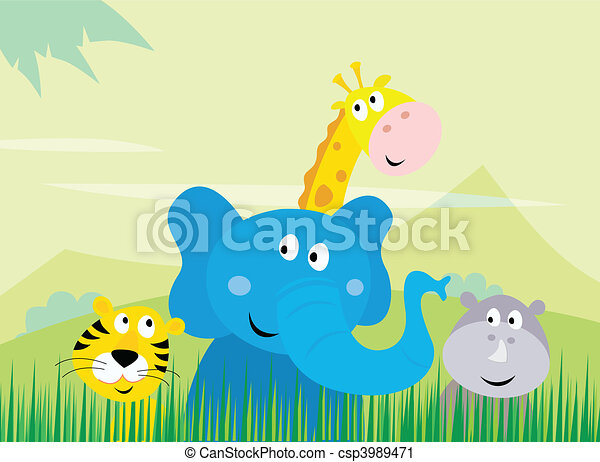 Cute wild safari animals - csp3989471