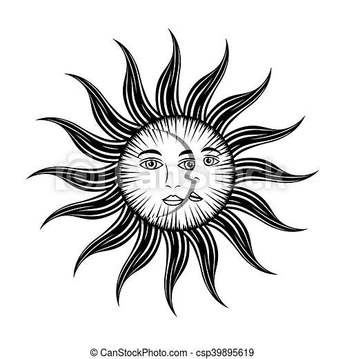 Vector Clip Art of sun moon face mystic astrology mythological ...