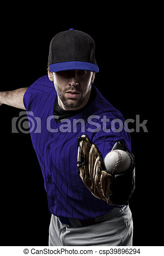 Baseball Player with a blue uniform on a black background.
