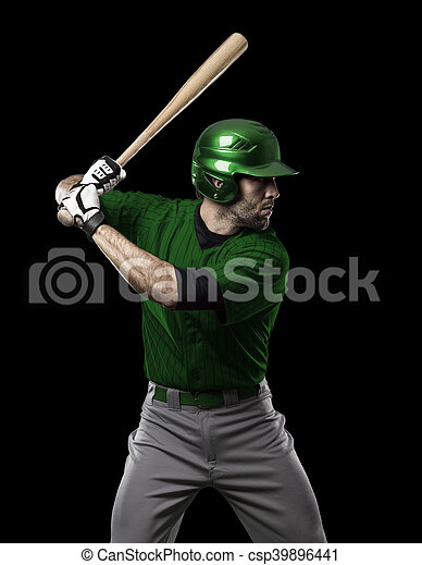 Baseball Player with a green uniform on a black background.