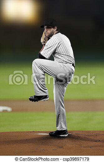 Pitcher Baseball Player with a white uniform on baseball Stadium.