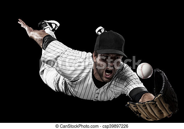 Baseball Player with a white uniform on a black background.