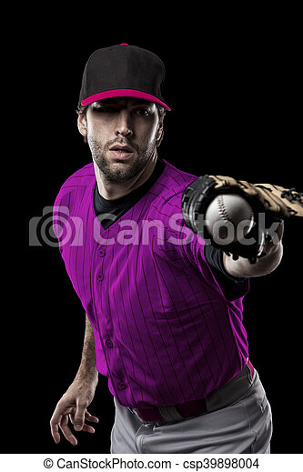 Baseball Player with a pink uniform on a black background.