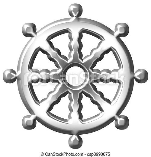 3D Silver Buddhism Symbol Wheel of Dharma - csp3990675