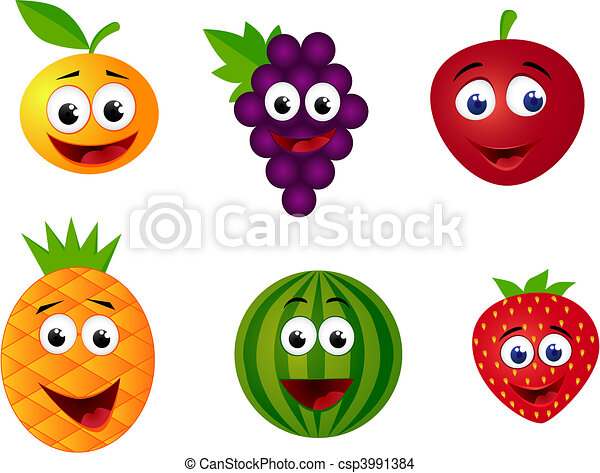 儿童可爱动物卡通画 水果